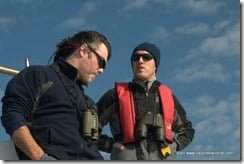Padraig Whooley and Conor Ryan on the IWDG Fin Whale research trip off West Cork