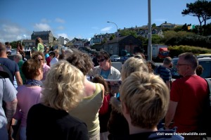 Padraig Whooley of the IWDG offering interpretation of the whale stranding in Baltimore