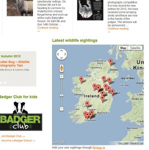 Citizen Science in action: interactive Biology.ie sightings map on the IWT homepage