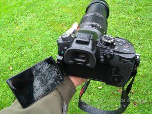 LCD flipped out on Panasonic Lumix GH5