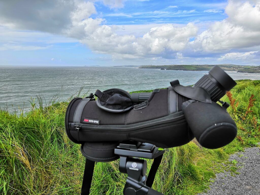 The Kite Optics SP-65 spotting scope in action on the West Cork coast