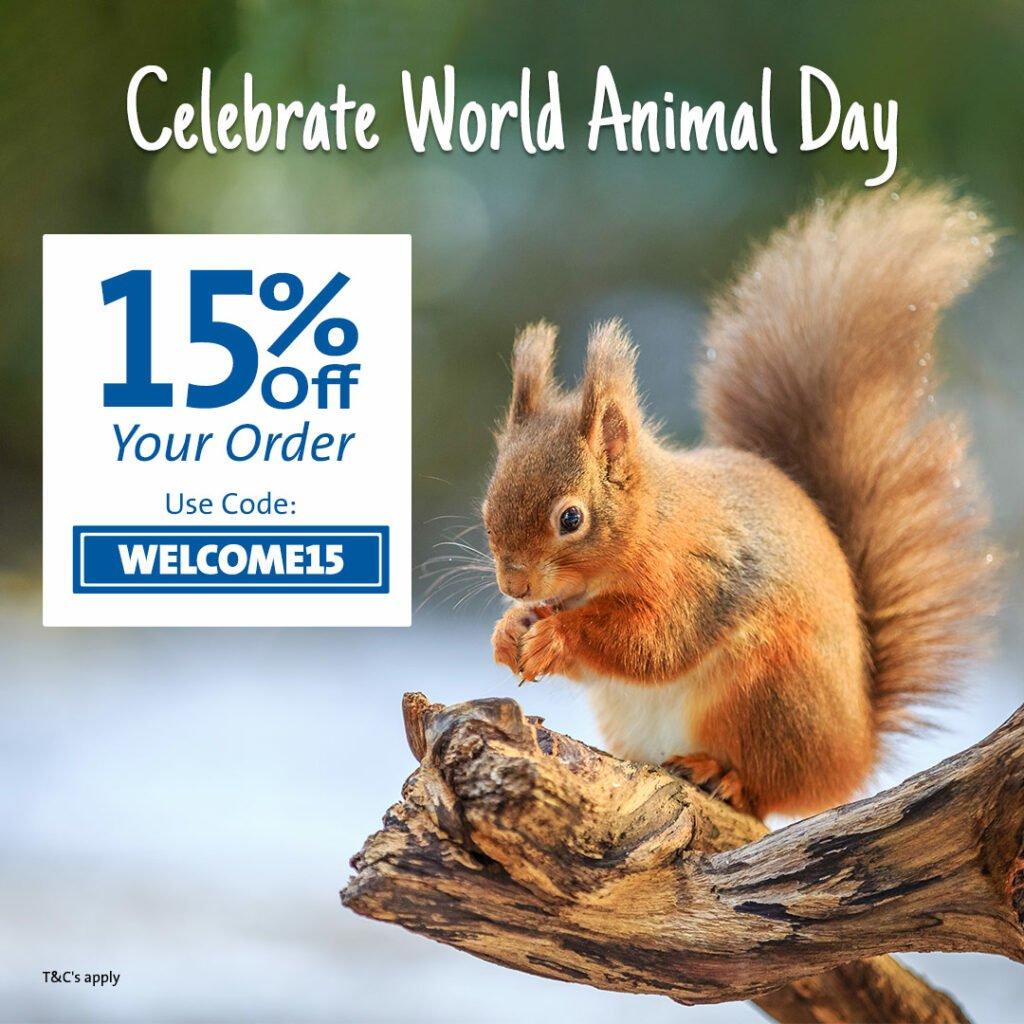 Save on Garden Wildlife supplies for World Animal Day with CJ Wildlife
